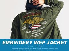 AVIREX|オンライン/DEPOT限定 U.S.NAVYの「VFA-14 TOPHATTERS」のキャプテンが着ていたジャケットをモチーフにAVIREXのフィルターを通し作成した限定WEPジャケット。